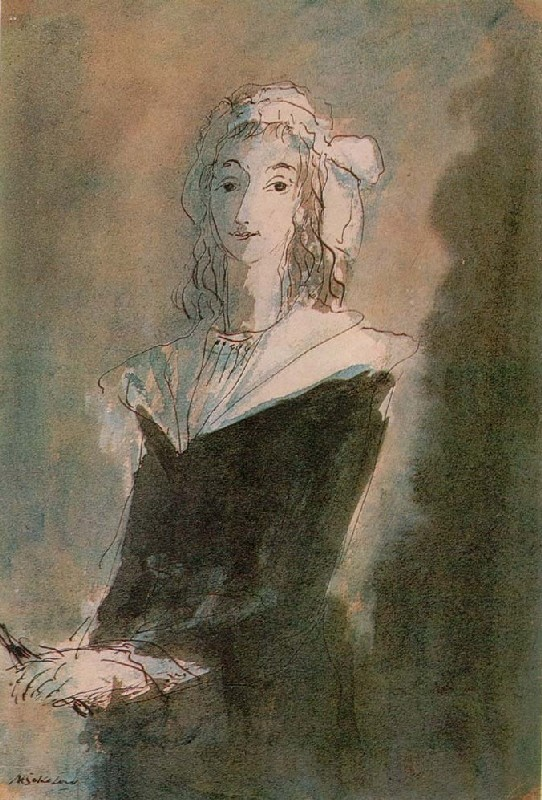 "Mikhail Sokolov, Marat's murderess ""Charlotte Corday [Шарлотт Корде],"" from Figures of the 1789 French Revolution (1930-1934)"
