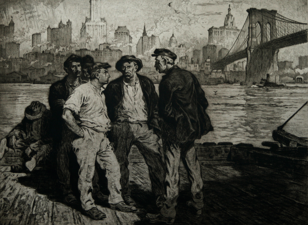Martin Lewis, (Dock Workers under the Brooklyn Bridge). c. 1916-18. Aquatint and etching. McCarron 15. 17 3:4 x 23 3:4 (sheet 39 1:2 x 26 1:8)
