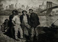 Martin Lewis, (Dock Workers under the Brooklyn Bridge). c. 1916-18. Aquatint and etching. McCarron 15. 17 3:4 x 23 3:4 (sheet 39 1:2 x 26 1:8)