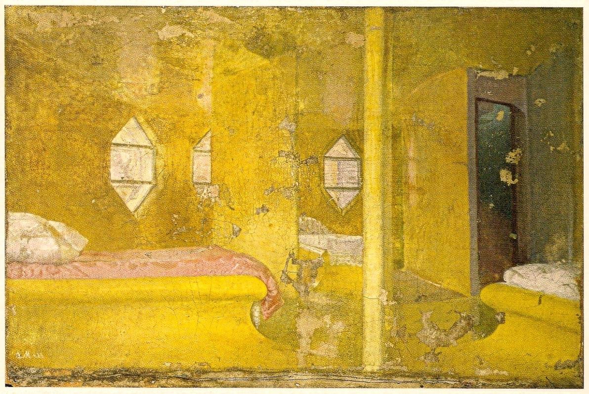 Konstantin Mel'nikov, painting of the bedroom in icon-like gold (1929)