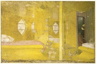 Konstantin Mel'nikov, painting of the bedroom in icon-like gold (1929)