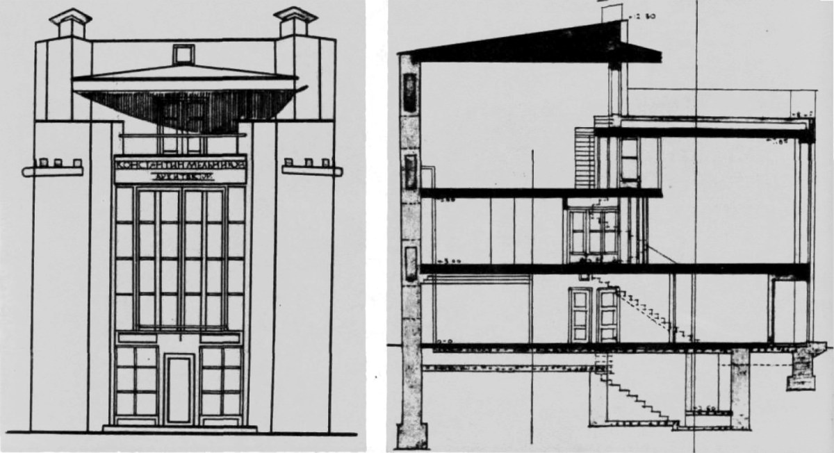 Konstantin Mel'nikov, rendering of the facade with straightforwardly ascending staircases (1927)