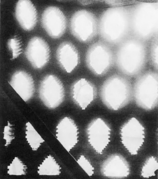 Hexagonal latticework for the windows, during construction (1928)