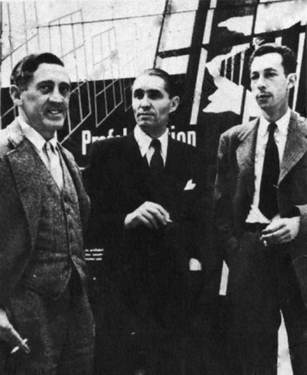 Paul Nelson, Robert Pontabry et Anatole Kopp à l'inauguration de l'exposition des techniques américaines, Grand Palais, 14 juin 1946a