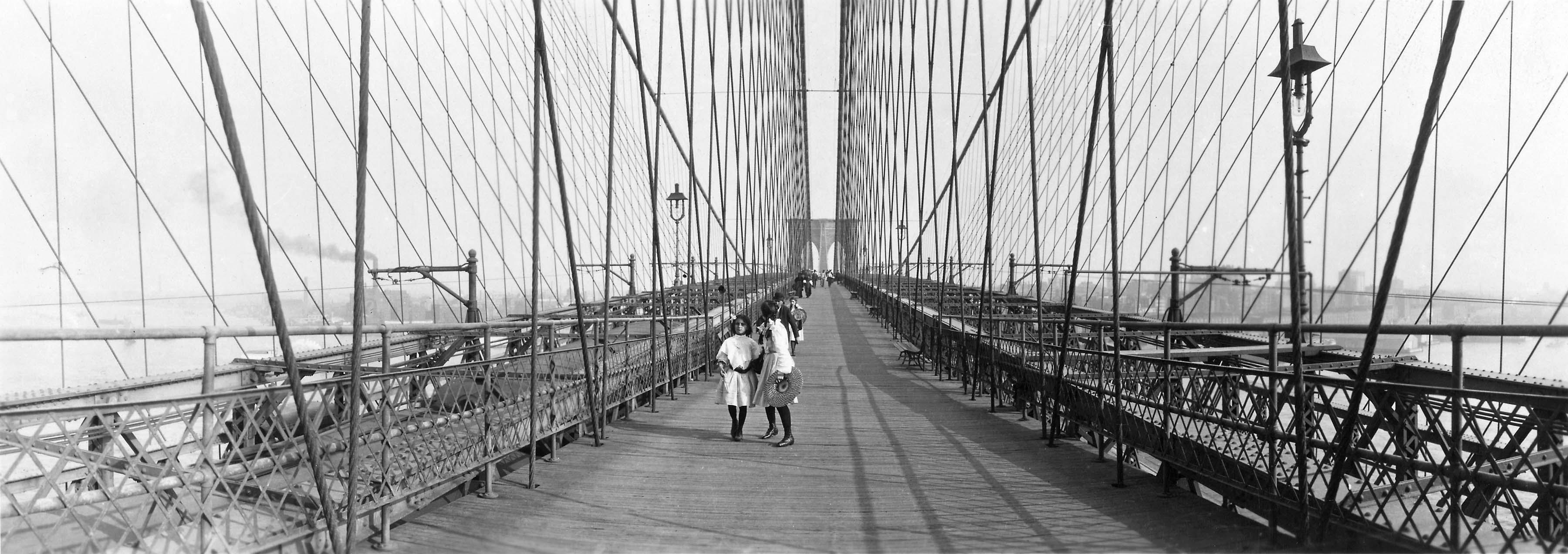 Pedestrians on the Brooklyn Bridge, ca. 1910
