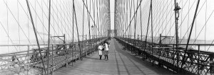 Pedestrians on the Brooklyn Bridge, ca. 1910