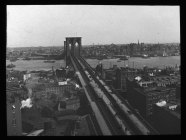 View from NY end, 1896. Date- 1896 Creator- Charles H. Morse Collection- Lantern Slide Collection Views- U.S., Brooklyn Brooklyn Bridge 1896-1900