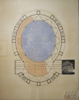 Design for a total theater by Walter Gropius. Drawing by Stefan Sebök (1926-27). Never realized.