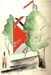 Aleksandr Rodchenko, playful sketch of Mel'nikov's pavilion on the fairgrounds (1925)