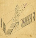 Isometric view of Mel'nikov's proposal for the Soviet pavilion in Paris (1925)