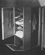 Castor-mounted wardrobe for a bachelor, 1930, design and execution by students of the Bauhaus carpenters' workshop