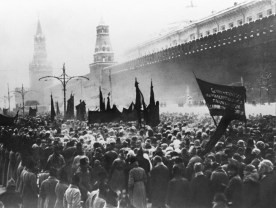 Mourners gather by the Kremlin walls for the funeral of Vladimir Lenin on January 27, 1924.