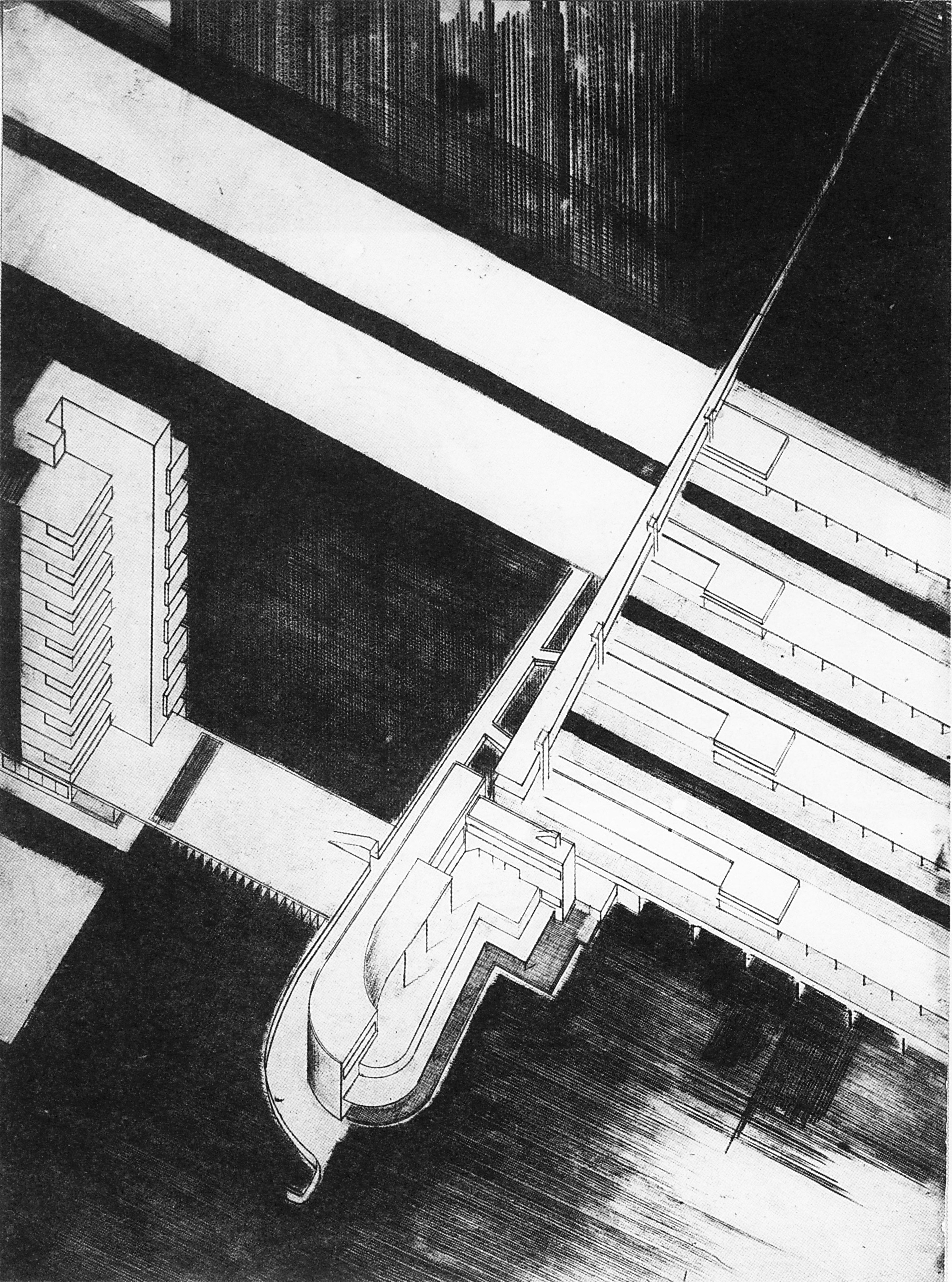 Author unknown, axonometric view of a train station in Saratov, 1929
