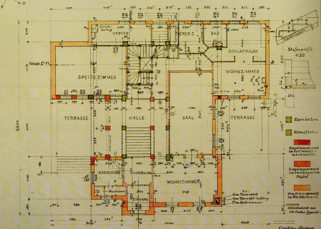Construction plan, November 1926, signed by Engelmann and Wittgenstein, Courtesy of Baupolizei, Rathaus Wien