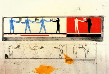 Farkas Molnar, project for a single-family house Der rote Wiirfel (The red cube) Design for a mural 1923, Gouache, pencil, and ink on drawing paper, 32.6 x 50.2cm
