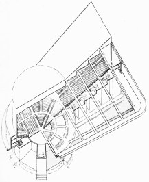 G. Glushchenko, Diploma project on the theme %22House of the Unions%22 (for 10,000 people), 1928 studio of Nikolai Ladovskii, cutaway