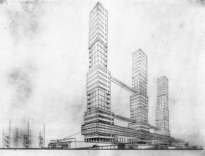 G. Kochar, Diploma project on the theme of the House of Unions, studio of Nikolai Dokuchaev (1929), perspective view