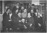 Graduates students and their assistants from the lower courses in the studio of Nikolai Ladovskii and Nikolai Dokuchaev (1928), left-right L Grinshpun, T Varentsov, I Muraeva, sitting O Golubeva, I Kirkessali, and Iu Mushinskii
