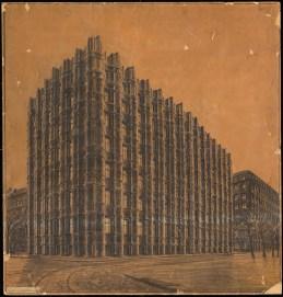 Hans Poelzig (1869-1936) Bankgebäude, Dresden (1918-1921) Perspektivische Ansicht Handzeichnung Kohle auf Transparent 91,00 x 86,00 cm Inv.-Nr. 2781