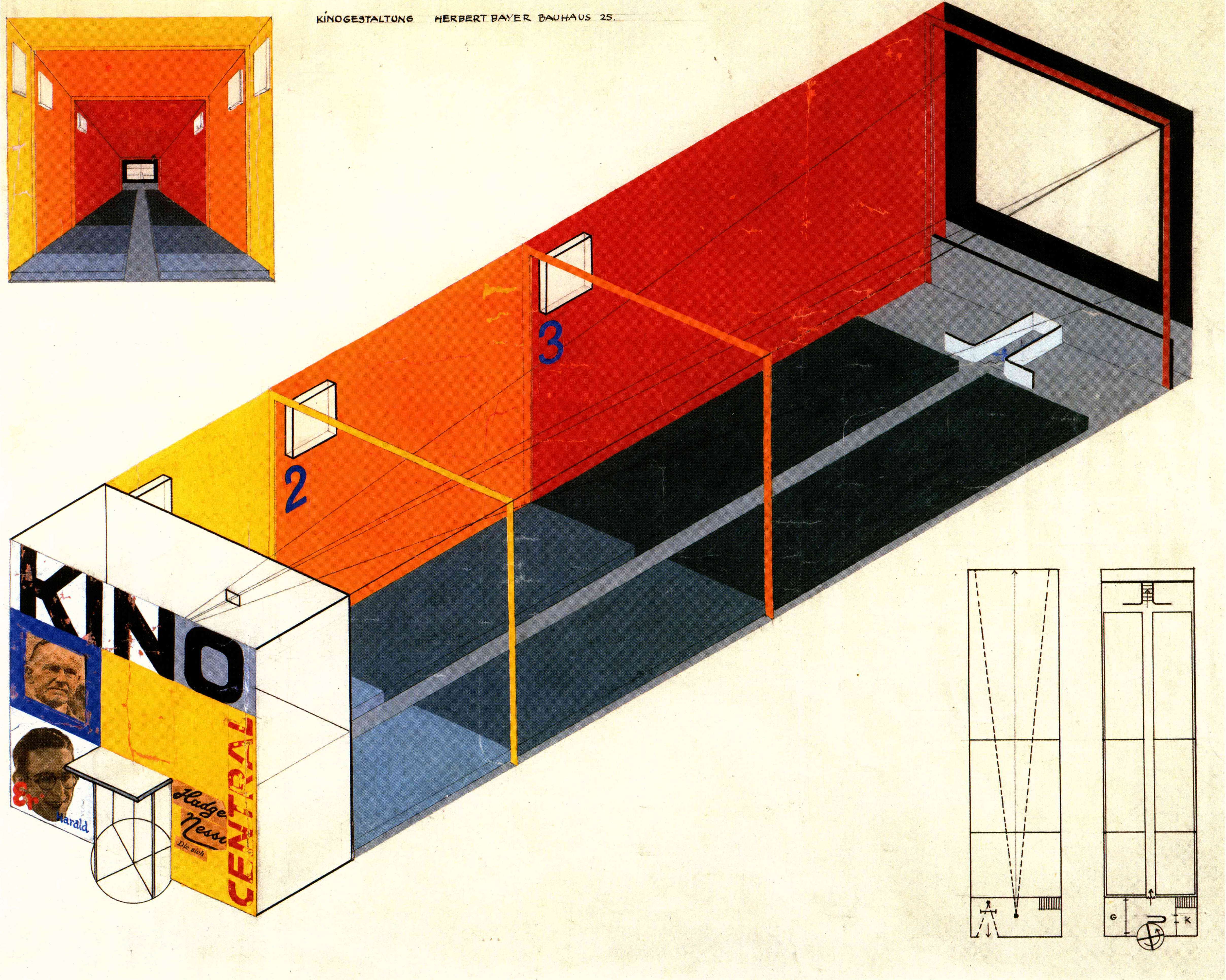 Herbert Bayer, Design for a cinema, 1924-1925, Gouache, cut-and-pasted photomechanical and print elements, ink, and pencil on paper, 54.6 x 61cm