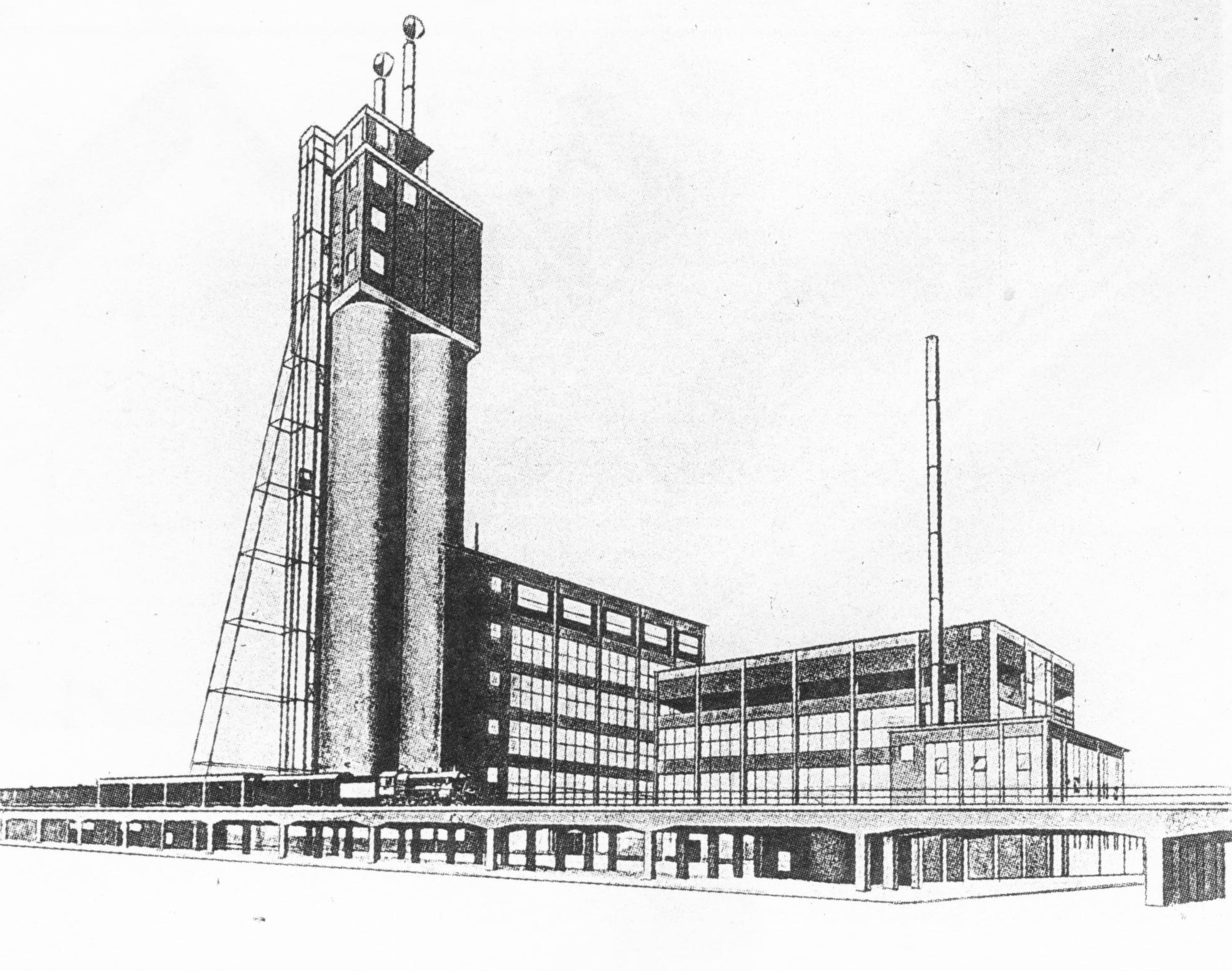 I. Sobolev, studio of Aleksandr Vesnin, perspective view of a bread factory (bread combine), 1925