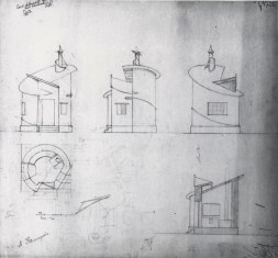 Lidiia Komarova, Student assignment at VKhUTEMAS, Trackwalker's house, plan, section, and elevation, 1923, pencil on paper, 45 x 49