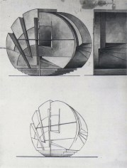 Lidiia Komarova, Student assignment VKhUTEMAS, on the demonstration of mass and weight, early 1920s, India ink on paper 71 x 53 cm