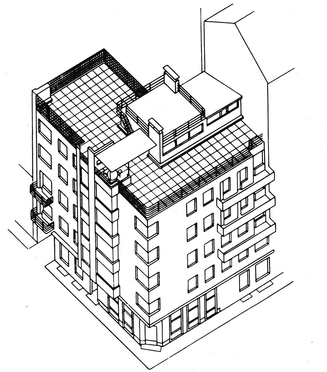 Moisei Ginzburg, Gosstrakh building in Moscow (1926-1927), axonometric view1