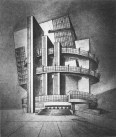 P. Smolenskaia, Diploma project on the theme %22House of the Unions%22 (for 10,000 people), 1928 studio of Nikolai Ladovskii, perspective view