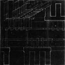"V. Popov, Diploma project on the theme of the ""New City"" (1928), studio of Nikolai Ladovskii, administrative building axonometric"