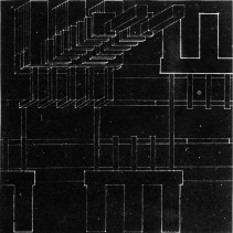 "V. Popov, Diploma project on the theme of the ""New City"" (1928), studio of Nikolai Ladovskii, administrative building axonometric"