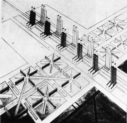 "V. Popov, Diploma project on the theme of the ""New City"" (1928), studio of Nikolai Ladovskii"