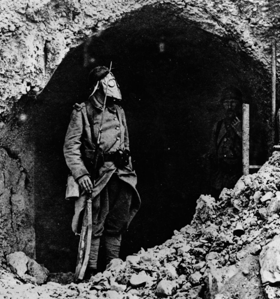 A French soldier at the Battle of Verdun, wearing a gas mask
