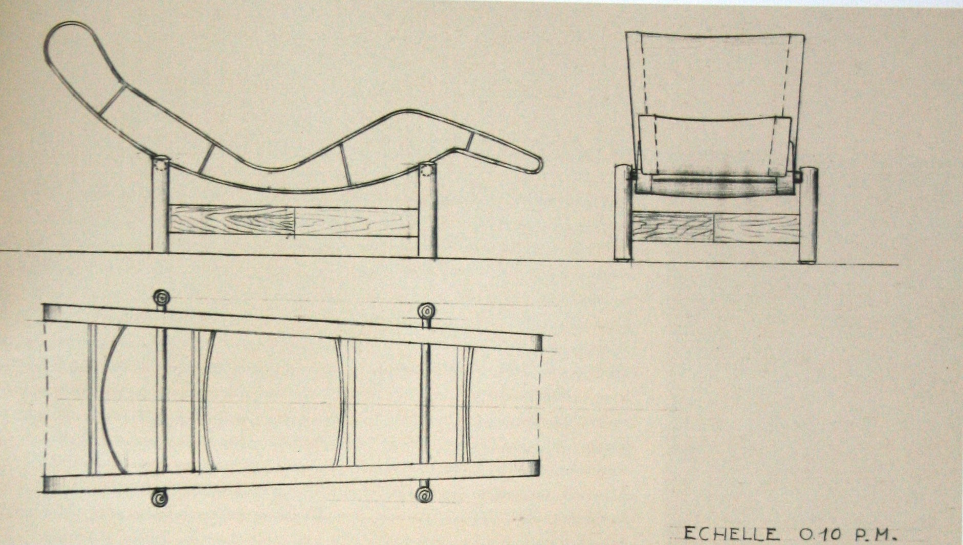 Chaise longue in wood, undated drawing, ca 1937