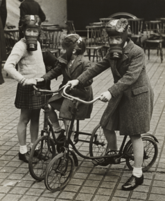 Children Play Wearing Gas Masks