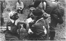 File-Soviet Nurses Wearing GP-4y And GP-5 Gas Masks