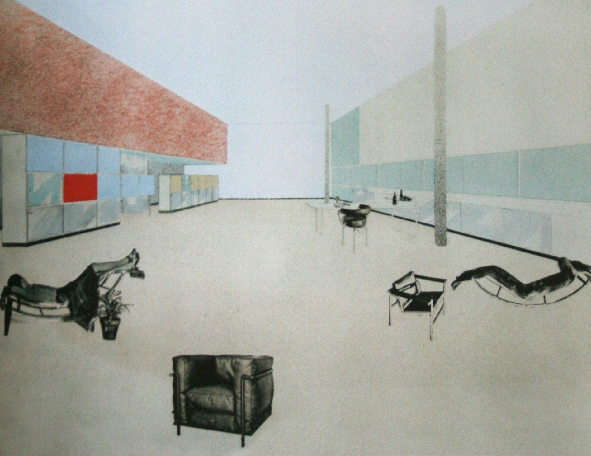 Photomontage pour le projet du stand l'Equipement Intérieur d'une habitation, présenté par Le Corbusier, Pierre Jeanneret et Charlotte Perriand au Salon d'automne, 1929