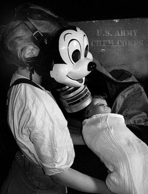 The Mikey Mouse gas mask was created in January 1942 by T.W. Smith, Jr.