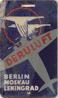 Luggage tag for Deruluft Airlines (Deutsch-Russische Luftverkehrsgesellschaft), circa 1930