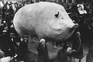 soviet demonstration with a large sculpture of a pig, late 1920s