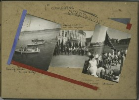1st childrens spartakiade. Rowing races on the Volga. Drums and banners on the square. Parading on DINAMO stadium. ([1933])