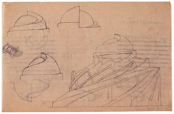 A Mukhin, supervisor Leonid Vesnin, Tropical plants pavilion in the botanical gardens in Paris, sketches 1923
