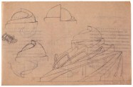 A Mukhin, supervisor Leonid Vesnin, Tropical plants pavilion in the botanical gardens in Paris, sketches 1923