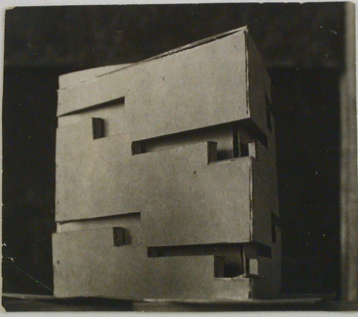 Photograph of a student model on the topic %22Finding the Form of Blunt Massive Volume (Parallelepiped, Cylinder, Complex Configuration)%22 for the %22Space%22 course at the Vkhutemas (Higher State Artistic Technical Studios), Moscow between 1920-1926k