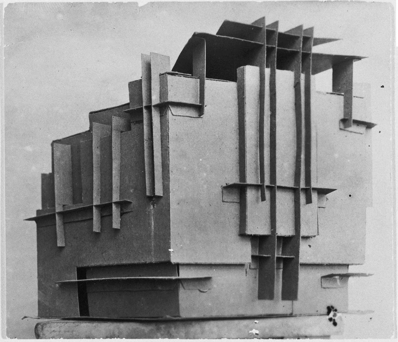 Photograph of a student model on the topic %22Finding the Form of Blunt Massive Volume (Parallelepiped, Cylinder, Complex Configuration)%22 for the %22Space%22 course at the Vkhutemas (Higher State Artistic Technical Studios), Moscow between 1920-1926yy