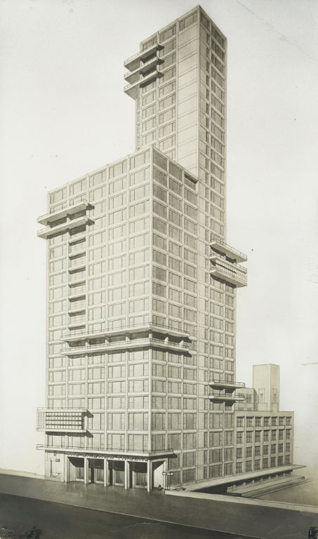 """Walter Gropius and Adolf Meyer: Competition Entry for """"Chicago Tribune"""" Tower (1922). Sketch, dynamic perspective."""
