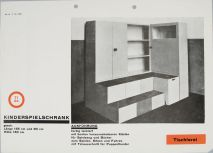 Herbert Bayer Bauhaus Sample Catalog page opening- Children's Game Cupboard designed by Alma Buscher, 1925 Photomechanical print in black and red inks on white paper 29.8 x 21.1 cm (11 3:4 x 8 5:16 in.)