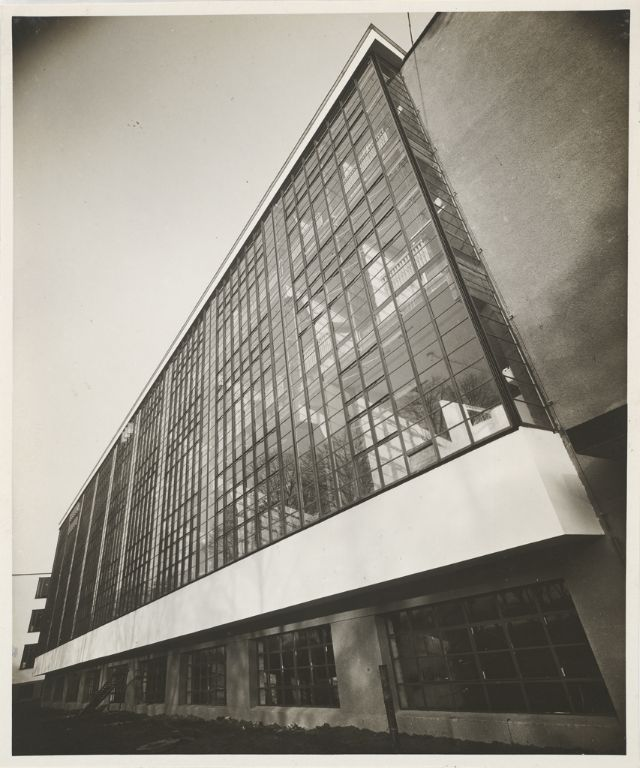 Lucia Schulz Moholy Bauhaus Building, Dessau, 1925-1926- View from the southwest, Workshop Wing [architect- Walter Gropius], c. 1926 Gelatin silver print image- 20.2 x 16.8 cm (7 15:16 x 6 5:8 in.)