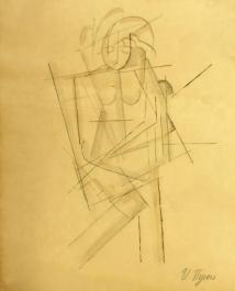 Ivan Puni Graphite on paper Omsk, Private Collection