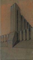 Studio plastico-architettonico per edificio industriale campitura pittorica attribuibile a Mario Chiattone